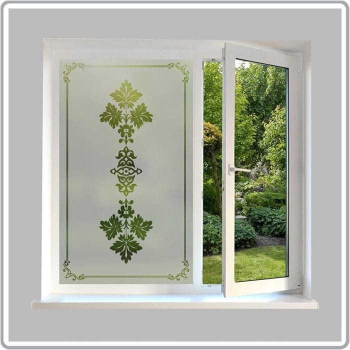 Victorian etched glass effect film traditional glass film for Victorian stained glass window film